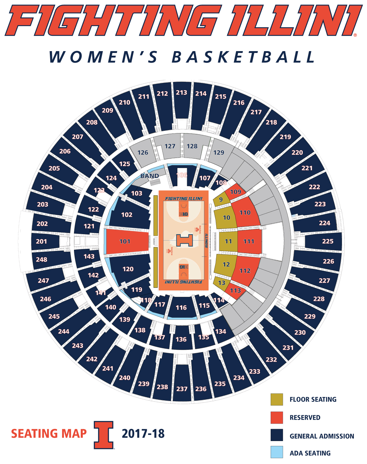 Illinois Women's Basketball Seating Map 2016-17