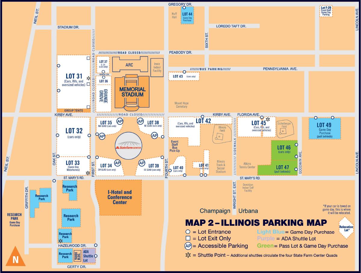 Illinois Football Parking Map 2018