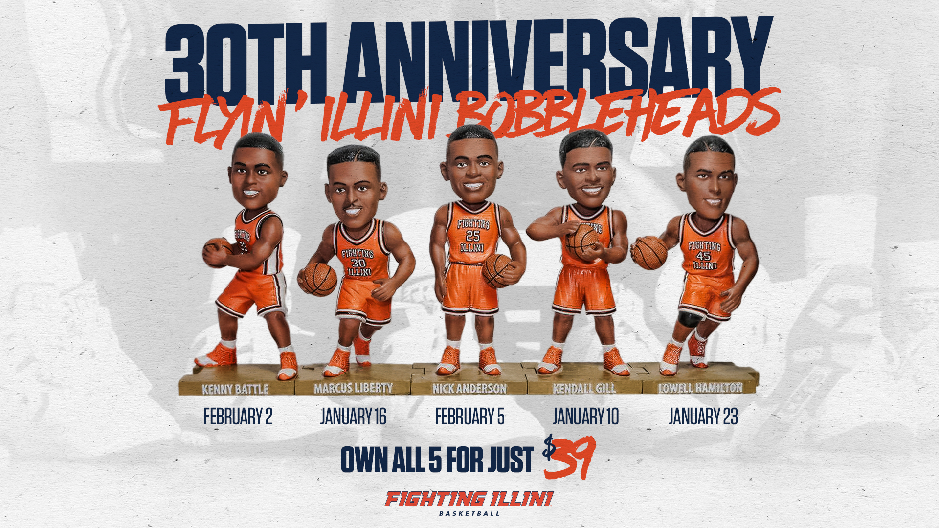 Illinois Basketball Flyin' Illini Bobbleheads